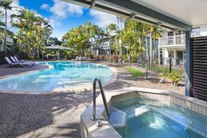 Beautiful spas and pools at Coral Beach Noosa Resort