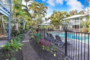 Beautiful garden setting at Coral Beach Noosa Resort